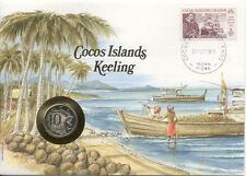 superbe enveloppe ILES COCOS KEELI pièce monnaie timbre
