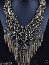 Newest Design huge Lady Statement Clear crystal chunky chain charm necklace q998