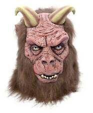 DEVIL HORNED SATANIC BEAST LATEX MASK & HAIR ADULT HALLOWEEN  FANCY DRESS NEW