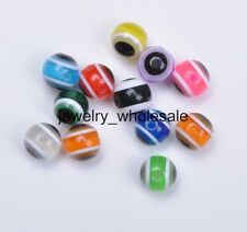 40pcs Mixed color Acrylic Evil Eye Charm Round Loose Spacer Beads 8mm