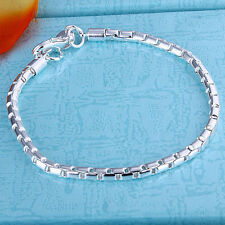 "925Sterling Silver Jewelry 4MM Round Grid Accessories Chain Bracelet 8"" FH214"