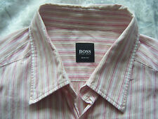 HUGO BOSS PINK STRIPED SLIM FIT SHORT SLEEVE SHIRT SIZE L LARGE