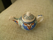 vintage hand made mini Turkish / Persian teapot pottery ceramic blue eastern