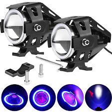 2x LED Motorcycle Bike White Spot Driving Fog Light Blue Angel Eye Headlight PC