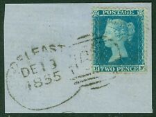 SG 23 2d blue plate 4 lettered H.F. Very fine used on small piece cancelled with