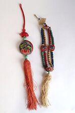 Fine antique 19th siècle chinois brodé soie pendentif