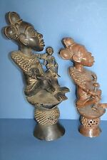 Two Large Mid 20th Century African Tikar Tribal Bronze Maternity Statues, c1950