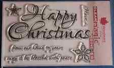NEW Woodware 'Script Happy Christmas' Clear Stamps FRS297