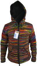 Woolen Tie Dye Fleece Lined Zip Colorful Nepalese Pocket Jacket Jumper Hoodie