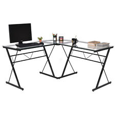L-Shape Computer Desk Tempered Glass Laptop Table Workstation Corner Home Office