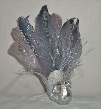 "7"" Feather & Glitter Silver Peacock Bird with Clip On Figurine Ornament Craft"