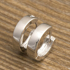 White Gold Plated Womens mens silver punk small Hoop Earring free shipping