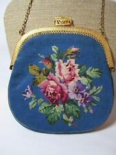 Antique Vintage Petit Point Needle Point Tapestry Floral Purse Gilt Handle/Frame
