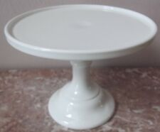 Cake Plate Pastry Tray Bakers Stand Plain & Simple Mosser - White Milk Glass 9""