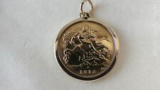 1914 Half Sovereign Coin In 9ct Gold Pendant Mount