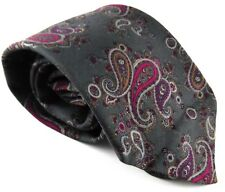 Brooks Brothers Makers Bros 100% Silk Tie Necktie Paisley Gray Red Made In USA