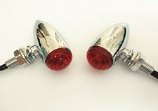 Mini Red LED 3 Wires Turn Signal Blinker Light Chrome Bullet Motorcycle