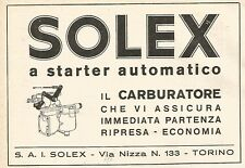 W9475 Carburatore SOLEX a starter automatico - Pubblicità 1937 - Old advertising