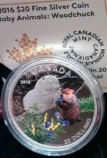 Baby Animals Woodchuck $20 2016 1OZ Pure Silver Proof Canada Coin. Mintage 5500.