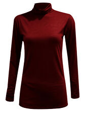 Womens Ladies Polo High Neck Long Sleeves Turtle Neck Top Shirt Tees Jumper 8-26