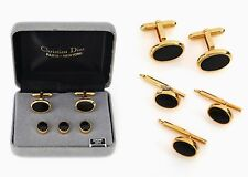 CHRISTIAN DIOR MENS GOLD BLACK ONYX CUFF LINKS 3 SHIRT STUDS TUXEDO DESIGNER SET