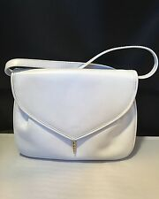 Stunning Vintage Rare Salvatore Ferragamo White Leather Handbag. Beautiful Clasp