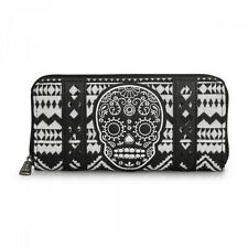 Loungefly Skull Applique Goth Punk Rockabilly Zip Around Canvas Wallet LFWA0433