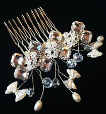 USA HAIR COMB RHINESTONE CRYSTAL UNIQUE PARTY WEDDING BRIDAL FASHION SILVER CHIC