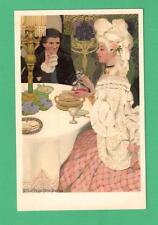 SCARCE M.M. VIENNE ETHEL FRANKLIN BETTS ART POSTCARD BEAUTIFUL LADY GENT DINNER