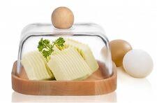 Butterdose Kühlschrankbutterdose Glas und Buchenholz Butterglocke Butterbehälter