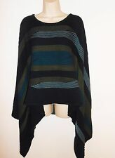 Linda Lundstrom XL 14 16 Poncho Cape Lagenlook Blue Green Striped Jacket Canada