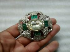 Stunning vintage art deco faux diamond emerald rhinestones pin brooch