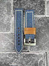24mm BIG CANVAS LEATHER STRAP BLUE JEANS Watch Band White Stitch PANERAI 24 X1