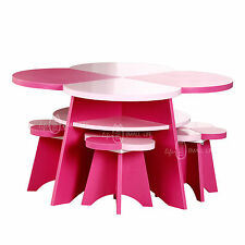 Color Life Kids Children Floral Table and 4 Chairs Pink&Rose Pink Toddler 5pcs