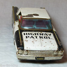 LARGE FRICTION TOY FORD GALAXIE POLICE HIGHWAY PATROL TIN TINPLATE CAR C1950/60S