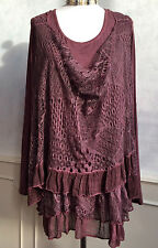 NEW - CMD Italian Purple Woven Lace Unusual Tie Dyed Party Blouse Top Large 16