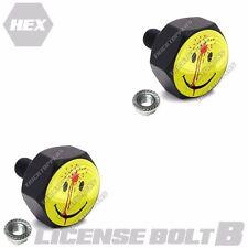 2 Custom Hex Black Billet License Plate Frame Fastener  Bolts - BAD SMILEY FACE