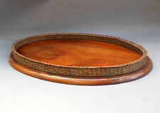 Antique Oval Wooden Serving Tray ~ Solid Mahogany & Wicker Basketweave Gallery