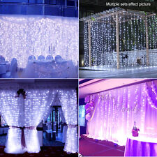 9ftx9ft 300-LED Romantic Xmas Wedding Curtain Mesh Fairy String Light Warm/White
