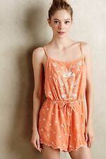 124197 New $88 Eloise Anthropologie Elspeth Embroidered Orange Romper Dress XS
