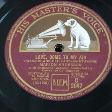 "78rpm 12"" MARION ANDERSON love come to my aid / softly awakes my heart"