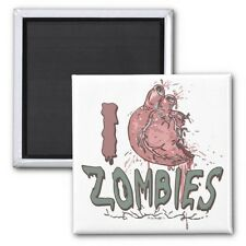 I Heart (Love) Zombies Square Magnet (funny)