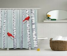 Forest Birch Trees Graphic Shower Curtain Red Cardinal Birds Bath Decor