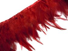 F222 PER FEET-Dark Red Rooster Hackle Hen feather fringe Trim Material
