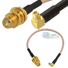 SMA jack female bulkhead to MMCX male right angle pigtail RF Cable RG316 15cm