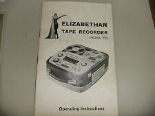 Instructions REEL to REEL tape player ELIZABETHAN TT3  CD/EMail