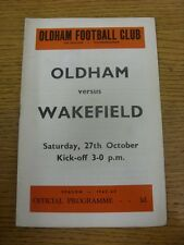 27/10/1962 Rugby League Programme: Oldham v Wakefield Trinity  (folded, creased)