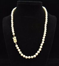 "Mikimoto 18"" Pearl Necklace 18k 6mm    b5d"