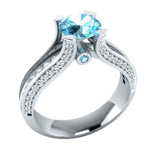 Certified 1.50 ct Natural Diamond & Aquamarine 10K White Gold Engagement Ring