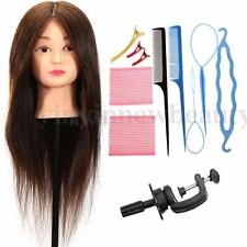 24'' 100% Real Human Hair Training Practice Head Mannequin Hairdressing + Braid